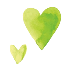 lime and lemony watercolor hearts